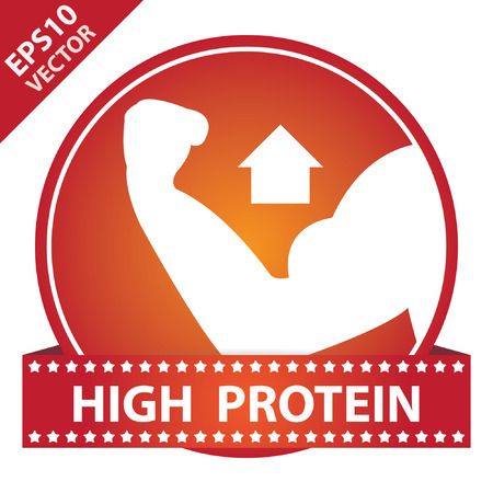protein crops: Vector : Tag, Sticker or Badge For Healthy, Weight Loss, Diet or Fitness Product Present By High Protein Sign on Red Glossy Badge With High Protein Label Isolated on White Background