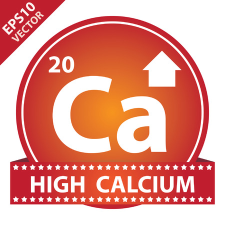 Vector : Tag, Sticker or Badge For Healthy, Weight Loss, Diet or Fitness Product Present By High Calcium Sign on Red Glossy Badge With High Calcium Label Isolated on White Background Vector