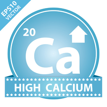 Vector : Tag, Sticker or Badge For Healthy, Weight Loss, Diet or Fitness Product Present By High Calcium Sign on Blue Glossy Badge With High Calcium Label Isolated on White Background Vector