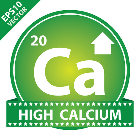 Vector : Tag, Sticker or Badge For Healthy, Weight Loss, Diet or Fitness Product Present By High Calcium Sign on Green Glossy Badge With High Calcium Label Isolated on White Background Vector