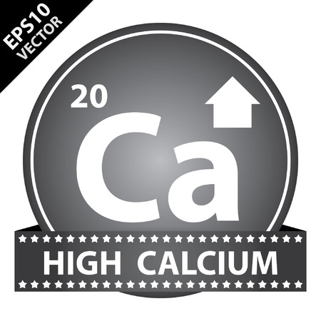 Vector : Tag, Sticker or Badge For Healthy, Weight Loss, Diet or Fitness Product Present By High Calcium Sign on Black Glossy Badge With High Calcium Label Isolated on White Background Vector