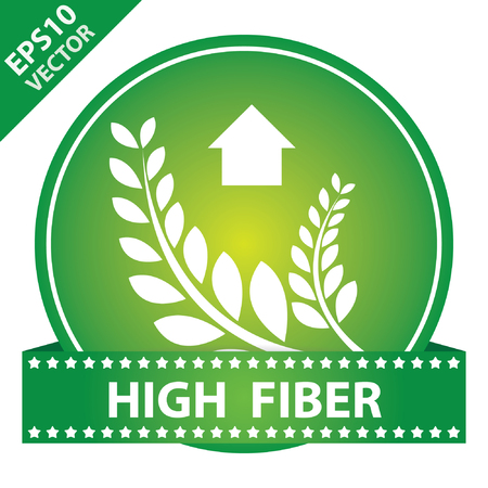 Tag, Sticker or Badge For Healthy, Weight Loss, Diet or Fitness Product Present By High Fiber Sign on Green Glossy Badge With High Fiber Label Isolated on White Background Illustration