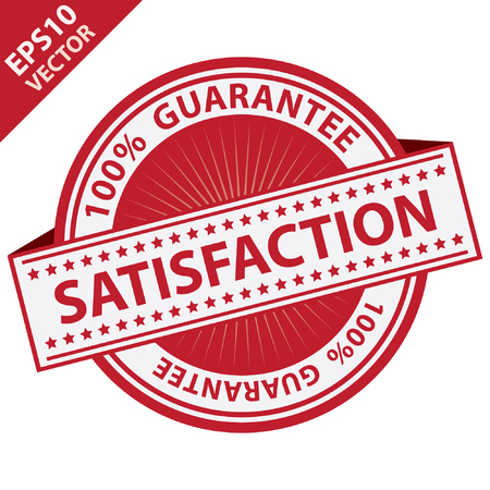 Vector : Promotional Sale Tag, Sticker or Badge, Present By Red Satisfaction Label With 100 Percent Guarantee Text Around Isolated on White Background Vector Illustration