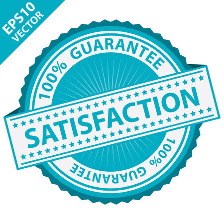 quality assurance: Vector : Promotional Sale Tag, Sticker or Badge, Present By Blue Satisfaction Label With 100 Percent Guarantee Text Around Isolated on White Background Illustration
