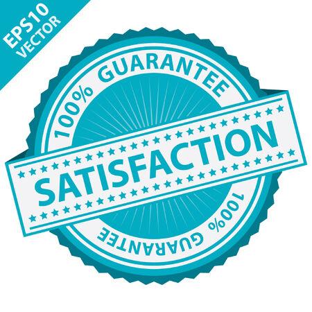 control de calidad: Vector: Promocional etiqueta de la venta, la etiqueta engomada o insignia, Presente Por Blue Label Satisfacci�n con la garant�a del 100 por ciento el texto alrededor de aislados sobre fondo blanco