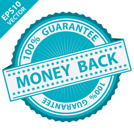 compensate: Vector : Promotional Sale Tag, Sticker or Badge, Present By Blue Money Back Label With 100 Percent Guarantee Text Around Isolated on White Background