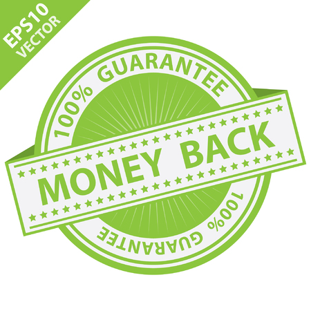 compensate: Vector : Promotional Sale Tag, Sticker or Badge, Present By Green Money Back Label With 100 Percent Guarantee Text Around Isolated on White Background