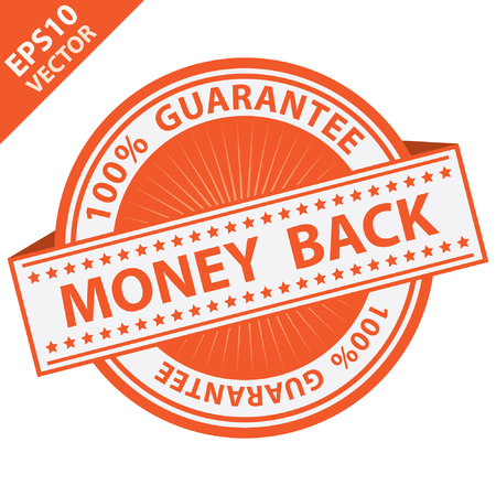 compensate: Vector : Promotional Sale Tag, Sticker or Badge, Present By Orange Money Back Label With 100 Percent Guarantee Text Around Isolated on White Background