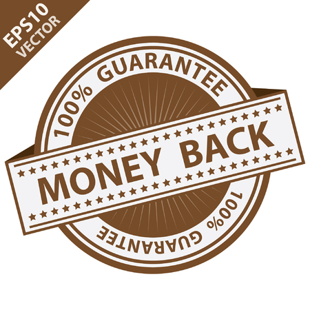 compensate: Vector : Promotional Sale Tag, Sticker or Badge, Present By Brown Money Back Label With 100 Percent Guarantee Text Around Isolated on White Background Illustration