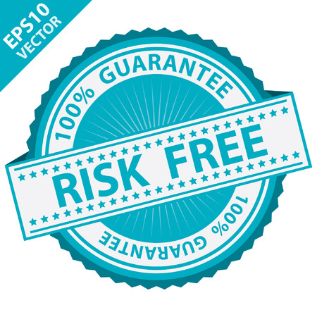 risk free: Blue Risk Free Label With 100 Percent Guarantee Text Around Isolated on White Background Illustration