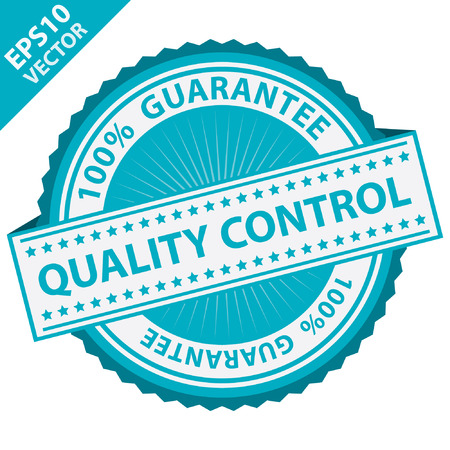 assured: Blue Quality Control Label With 100 Percent Guarantee Text Around Isolated on White Background