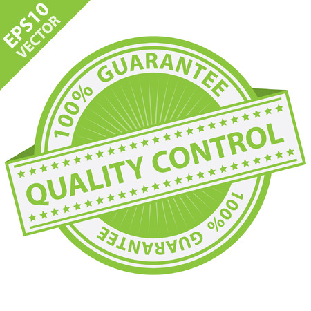 qc: Green Quality Control Label With 100 Percent Guarantee Text Around Isolated on White Background