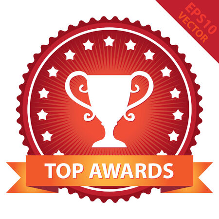 tournament chart: Red Glossy Badge With Top Awards Ribbon and Trophy Sign With Little Star Around Isolated on White Background Illustration