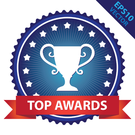 better icon: Blue Glossy Badge With Top Awards Ribbon and Trophy Sign With Little Star Around Isolated on White Background