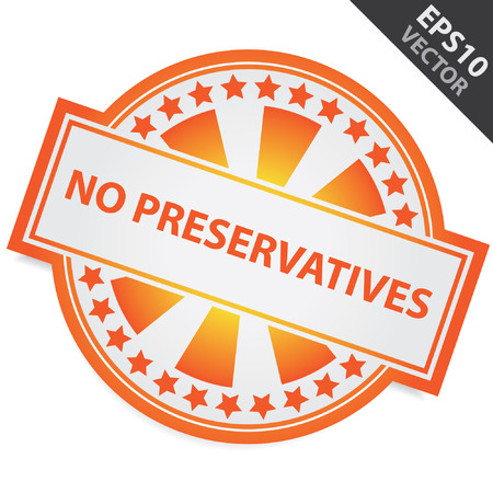 Orange Badge With No Preservatives Label and Little Star Around Isolated on White Background Vector