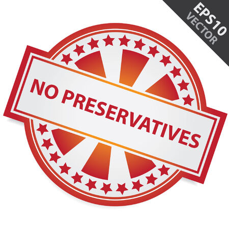 preservatives: Red Badge sin conservantes Etiqueta y Estrellita Alrededor aislados sobre fondo blanco Vectores