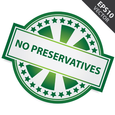 preservative: Green Badge With No Preservatives Label and Little Star Around Isolated on White Background