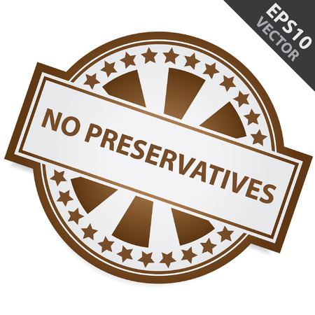 Brown Badge With No Preservatives Label and Little Star Around Isolated on White Background Vector