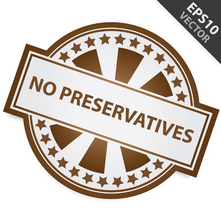 preservatives: Insignia de Brown sin conservantes Etiqueta y Estrellita Alrededor aislados sobre fondo blanco