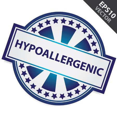 carcinogen: Placa Azul Con hipoalerg�nico Etiqueta y Estrellita Alrededor aislados sobre fondo blanco Vectores