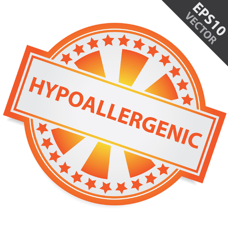hypo: Orange Badge With Hypoallergenic Label and Little Star Around Isolated on White Background