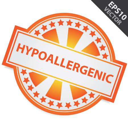 carcinogen: Placa Naranja Con hipoalerg�nico Etiqueta y Estrellita Alrededor aislados sobre fondo blanco Vectores