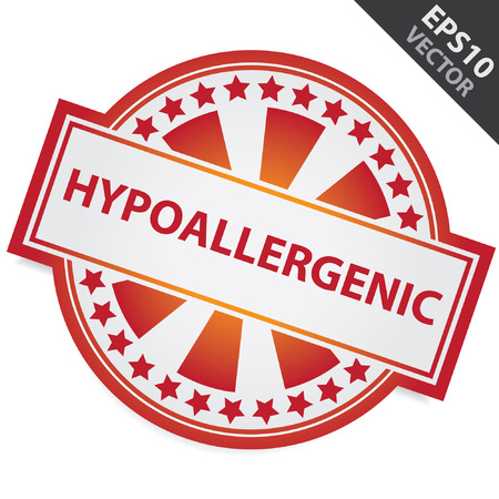hypo: Red Badge With Hypoallergenic Label and Little Star Around Isolated on White Background