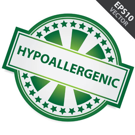 allergenic: Vector : Icon for Marketing Campaign, Product Information or Product Ingredient Concept Present By Green Badge With Hypoallergenic Label and Little Star Around Isolated on White Background