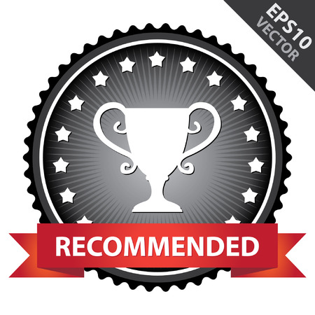 share prices: Black Glossy Badge With Recommended Ribbon and Trophy Sign With Little Star Around Isolated on White Background