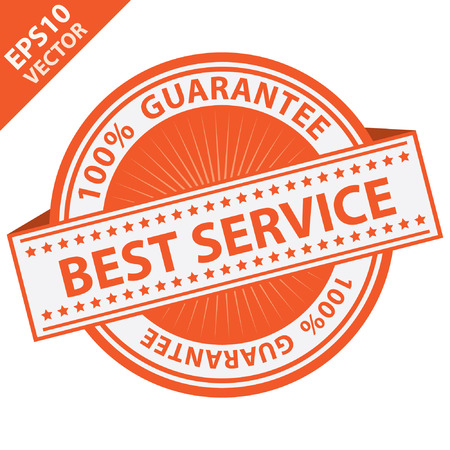 best service: Orange Best Service Label With 100 Percent Guarantee Text Around Isolated on White Background