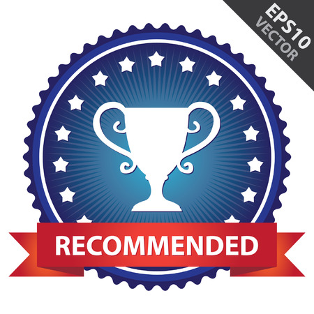 Blue Glossy Badge With Recommended Ribbon and Trophy Sign With Little Star Around Isolated on White Background Vector