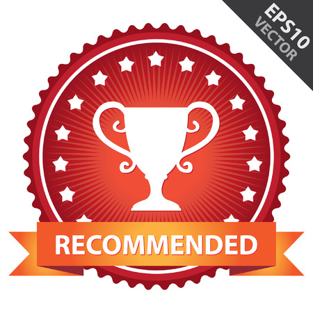 share prices: Red Glossy Badge With Recommended Ribbon and Trophy Sign With Little Star Around Isolated on White Background Illustration