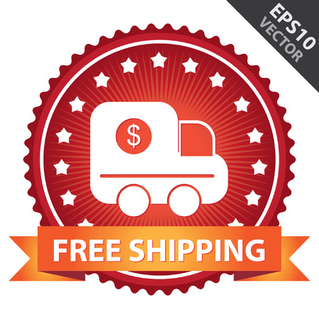 ship order: Red Glossy Badge With Free Shipping Ribbon and Truck Sign With Little Star Around Isolated on White Background