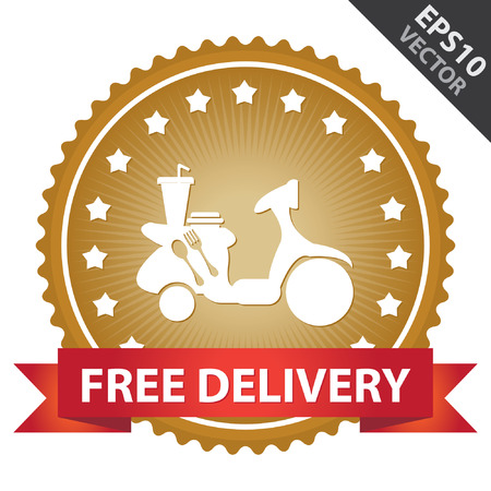 Gold Glossy Badge With Free Delivery Ribbon and Food Delivery Sign With Little Star Around Isolated on White Background Vectores