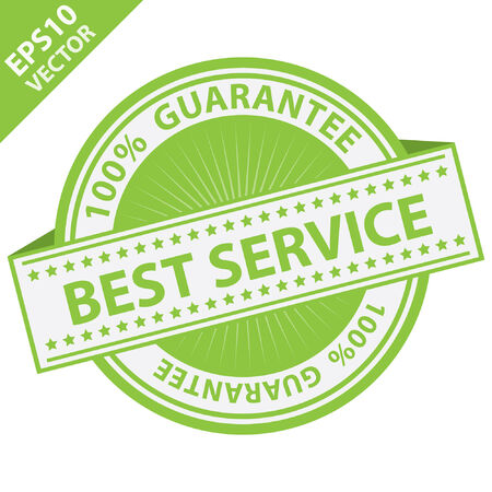 best service: Green Best Service Label With 100 Percent Guarantee Text Around Isolated on White Background