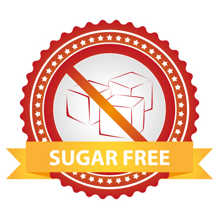 low cal: Red Badge With No Sugar Added Sign and Yellow Sugar Free Ribbon Isolated on White Background Stock Photo