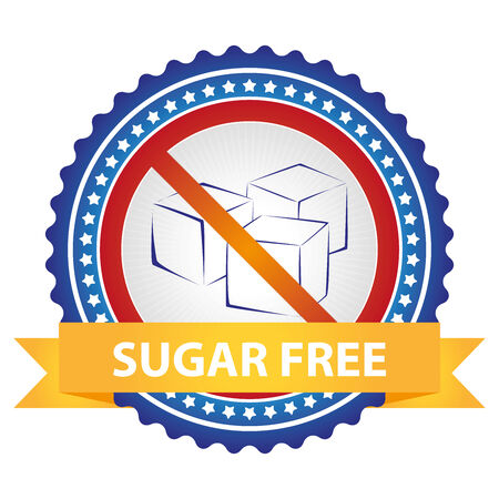 low cal: Blue Badge With No Sugar Added Sign and Yellow Sugar Free Ribbon Isolated on White Background