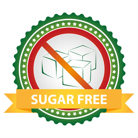 Green Badge With No Sugar Added Sign and Yellow Sugar Free Ribbon Isolated on White Background