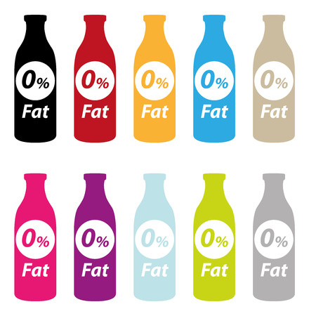 low cal: Colorful 0% Fat Bottle Icon Isolated on White Background