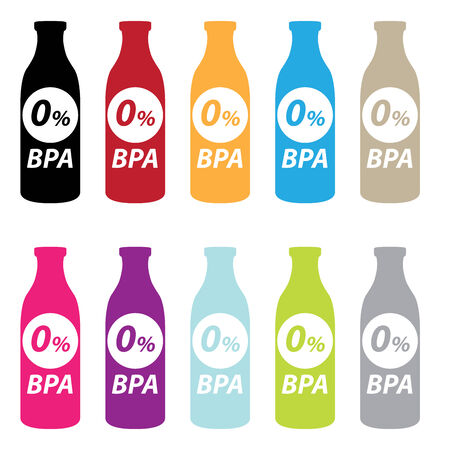 bpa: Colorful 0 Percent BPA Bottle Icon Isolated on White Background