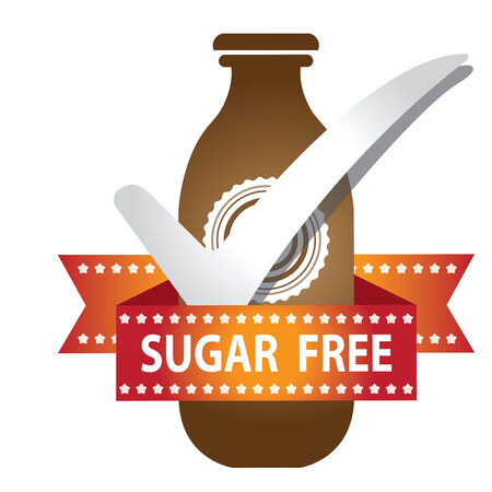 Brown Bottle Sign With Check Mark and Sugar Free Ribbon Isolated on White Background photo