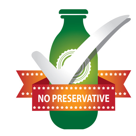 preservative: Green Bottle Sign With Check Mark and No Preservative Ribbon Isolated on White Background