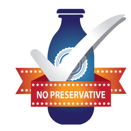 preservative: Blue Bottle Sign With Check Mark and No Preservative Ribbon Isolated on White Background