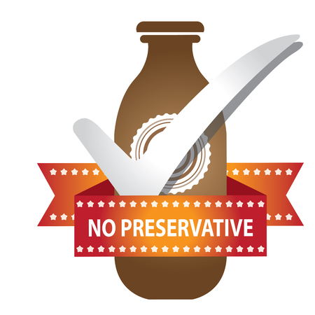 preservative: Brown Bottle Sign With Check Mark and No Preservative Ribbon Isolated on White Background Stock Photo