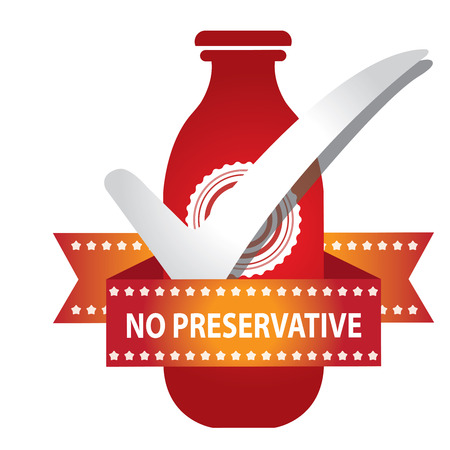 preservative: Red Bottle Sign With Check Mark and No Preservative Ribbon Isolated on White Background Stock Photo