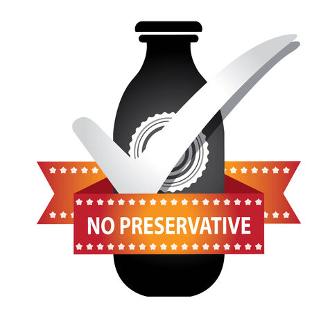 preservative: Black Bottle Sign With Check Mark and No Preservative Ribbon Isolated on White Background Stock Photo