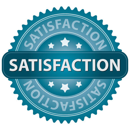 qc: Blue Satisfaction Icon, Badge, Sticker or Label Isolated on White Background