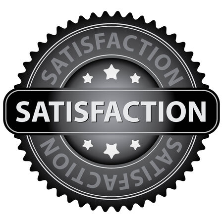 qc: Black Satisfaction Icon, Badge, Sticker or Label Isolated on White Background Stock Photo