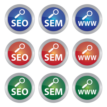 sem: Colorful Icon With SEO, SEM and WWW Text With Magnifying Glass Sign Isolated on White Background