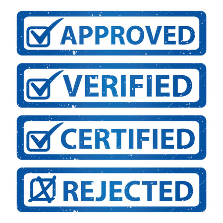 verified: Blue Grunge Glossy Style Approved, Verified, Certified and Rejected Icon Isolated on White Background
